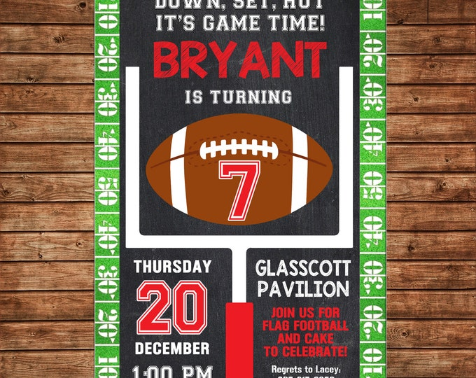 Boy Invitation Football Sports Team Tailgate Birthday Party - Can personalize colors /wording - Printable File or Printed Cards