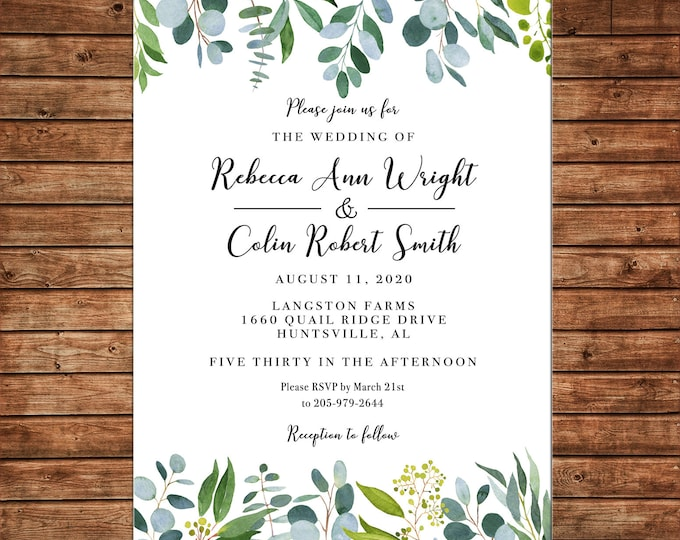Wedding Invitation Watercolor Greenery Bridal Baby Shower  - Can personalize colors /wording - Printable File or Printed Cards