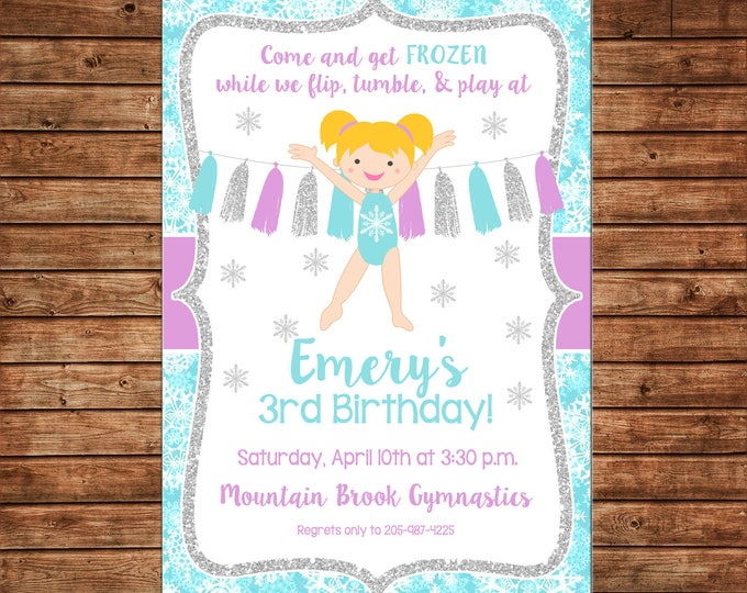 Girl Invitation Snowflake Glitter Gymnastics Gym Birthday Party - Can personalize colors /wording - Printable File or Printed Cards