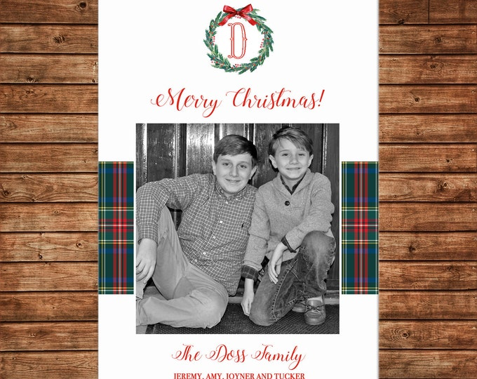 Christmas Holiday Photo Card Tartan Plaid Wreath - Can Personalize - Printable File