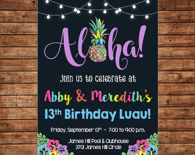 Invitation Pineapple Aloha Luau Pool Birthday Party - Can personalize colors /wording - Printable File or Printed Cards