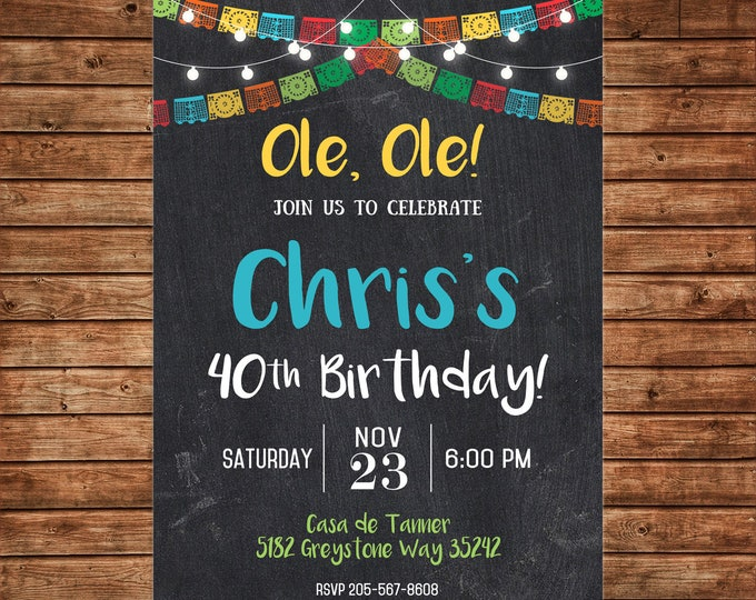 Boy Invitation Mexican Fiesta Shower Birthday Party - Can personalize colors /wording - Printable File or Printed Cards
