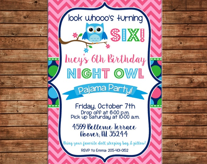 Girl Invitation Night Owl Sleepover Birthday Party - Can personalize colors /wording - Printable File or Printed Cards