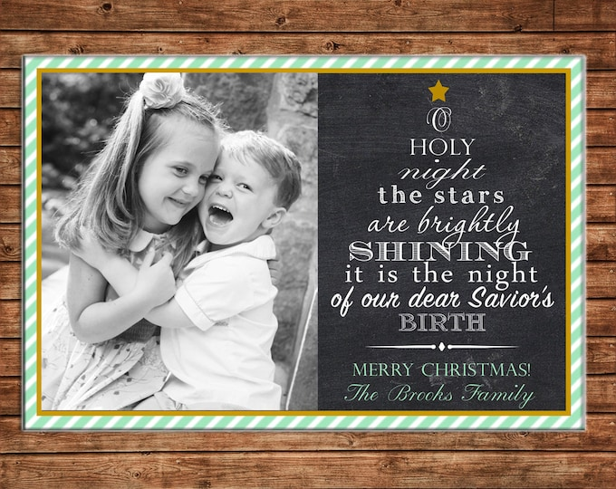 Christmas Holiday Photo Card Green Stripe Typography - Can Personalize - Printable File or Printed Cards