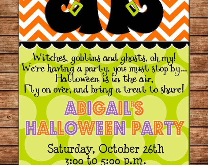 Halloween Invitation Chevron Witch Shoes Trick or Treat Birthday Party - Can personalize colors /wording - Printable File or Printed Cards