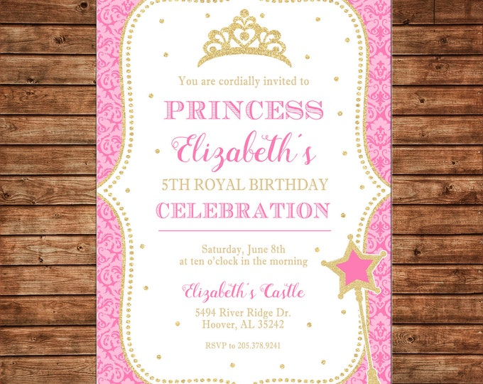 Girl Invitation Princess Royal Celebration Pink Gold Birthday Party - Can personalize colors /wording - Printable File or Printed Cards