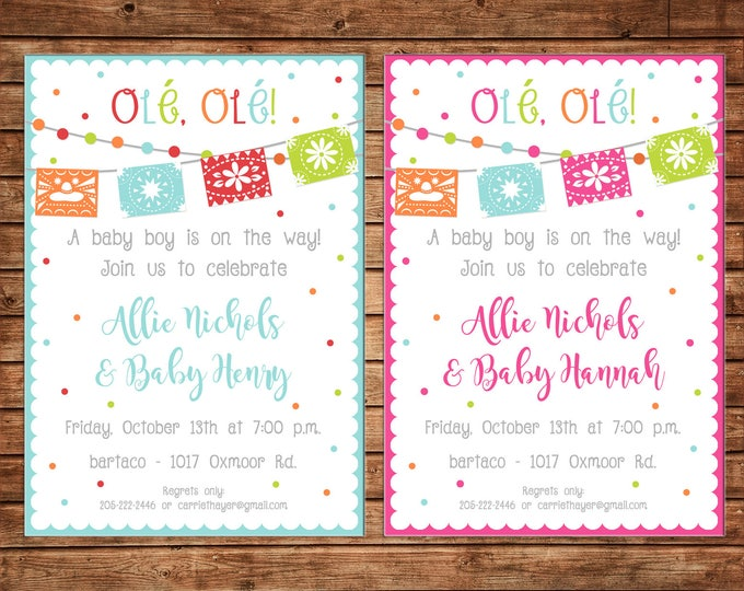 Boy or Girl Invitation Mexican Fiesta Baby Shower Birthday Party - Can personalize colors /wording - Printable File or Printed Cards