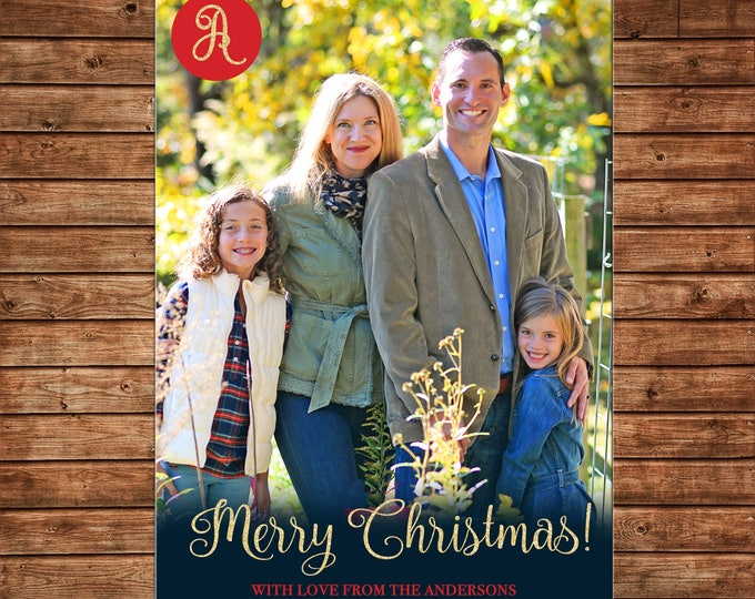 Christmas Holiday Photo Card Monogram Red Navy Gold - Can Personalize - Printable File or Printed Cards