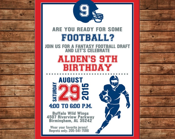 Boy Invitation Football Tailgate Sports Team Shower Birthday Party - Can personalize colors /wording - Printable File or Printed Cards