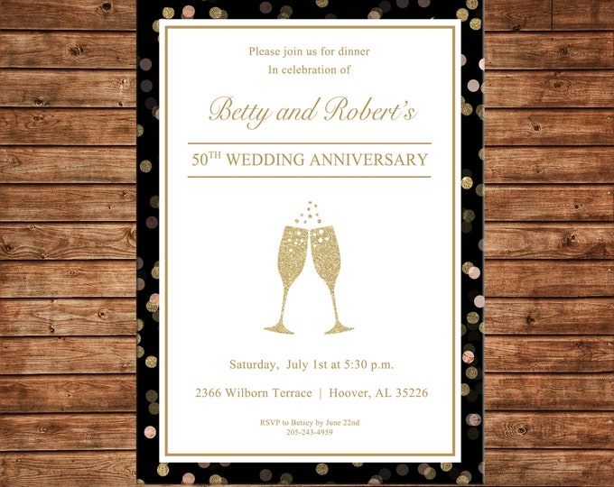 Invitation Glitter Confetti Champagne Anniversary Wedding Birthday Party - Can personalize colors /wording - Printable File or Printed Cards