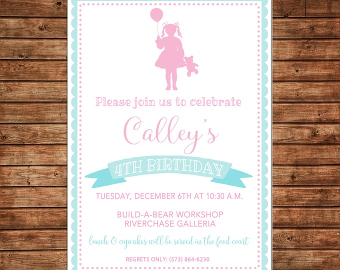Girl Invitation Bear Teddy Silhouette Birthday Party - Can personalize colors /wording - Printable File or Printed Cards