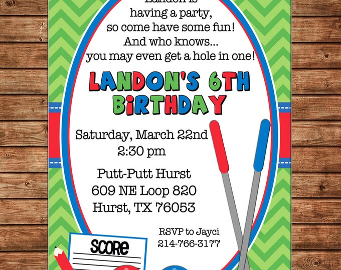 Boy or Girl Invitation Putt Putt Miniature Golf Birthday Party - Can personalize colors /wording - Printable File or Printed Cards