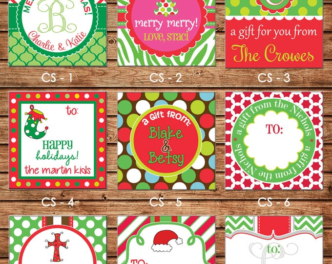 24 Square Personalized Christmas Red Green Enclosure Cards, Gift Stickers, Gift Tags