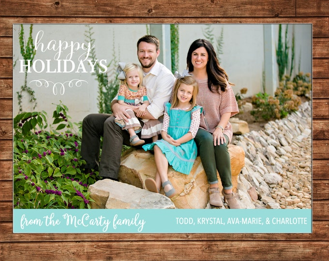 Christmas Holiday Photo Card Mint Blue - Can Personalize - Printable File or Printed Cards