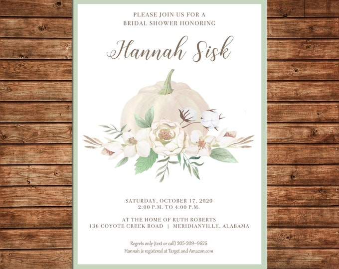 Invitation Watercolor Pumpkin Fall Floral Wedding Bridal Baby Shower - Can personalize colors /wording - Printable File or Printed Cards