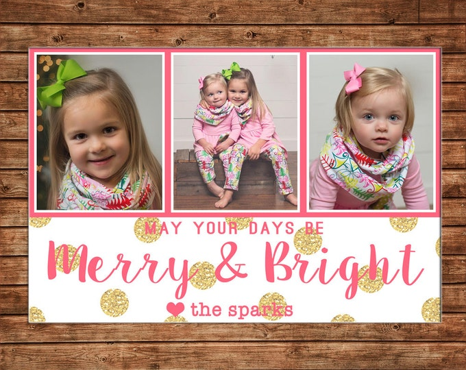 Christmas Holiday Photo Card Merry and Bright Gold Glitter - Can Personalize - Printable File or Printed Cards