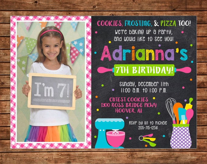 Girl Photo Invitation Baking Cooking Bake Birthday Party - Can personalize colors /wording - Printable File or Printed Cards