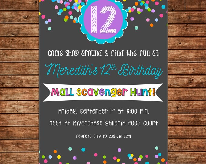 Girl Invitation Mall Shopping Scavenger Hunt Birthday Party - Can personalize colors /wording - Printable File or Printed Cards
