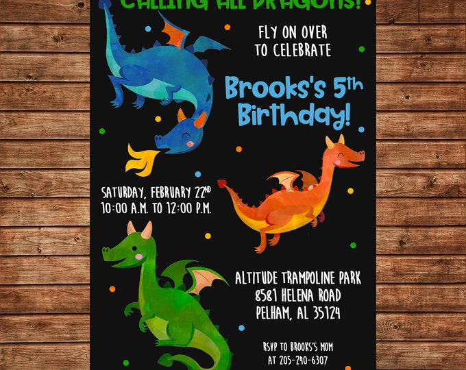 Boy Invitation Watercolor Dragon Birthday Party - Can personalize colors /wording - Printable File or Printed Cards