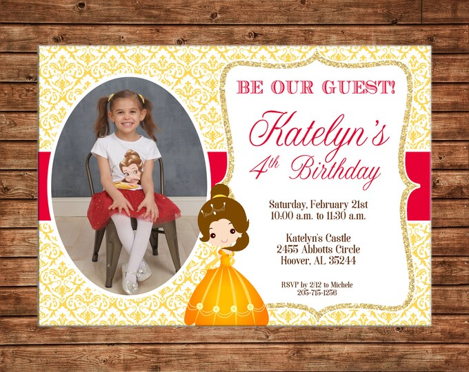 Girl Invitation Photo Beauty Princess Royal Celebration Birthday Party - Can personalize colors /wording - Printable File or Printed Cards