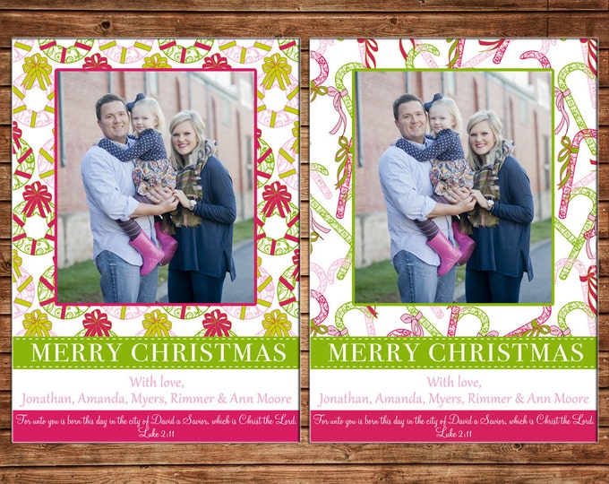 Christmas Holiday Photo Card Whimsical Pattern - Can Personalize - Printable File or Printed Cards