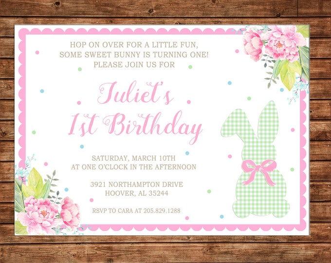Invitation Watercolor Floral Easter Bunny Rabbit Spring Birthday Party - Can personalize colors /wording - Printable File or Printed Cards