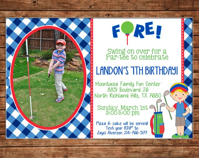 Boy Photo Invitation Putt Putt Miniature Golf Birthday Party - Can personalize colors /wording - Printable File or Printed Cards