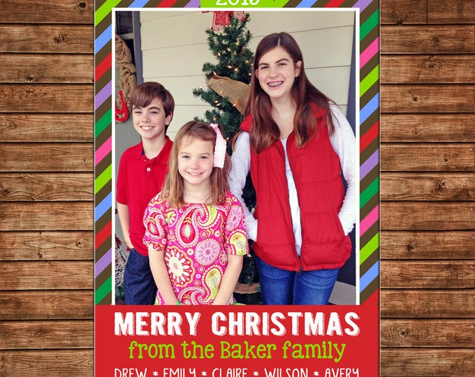 Christmas Holiday Photo Card Multi Stripe Whimsical - Can Personalize - Printable File or Printed Cards