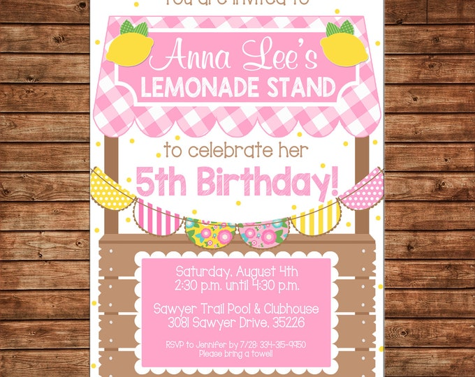 Girl Invitation Lemonade Stand Lemon Gingham Bunting Birthday Party - Can personalize colors /wording - Printable File or Printed Cards