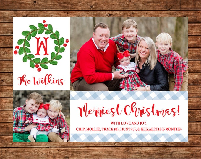 Christmas Holiday Photo Card Gingham Wreath Monogram  - Can Personalize - Printable File