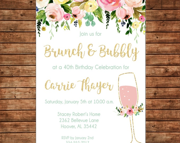Invitation Watercolor Brunch Bubbly Watercolor Floral Shower Birthday - Can personalize colors /wording - Printable File or Printed Cards