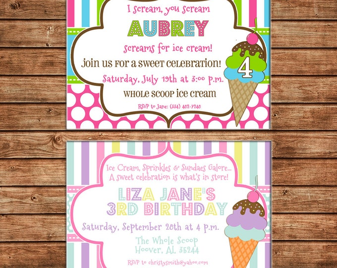 Girl Invitation Ice Cream Cone Birthday Party - Can personalize colors /wording - Printable File or Printed Cards