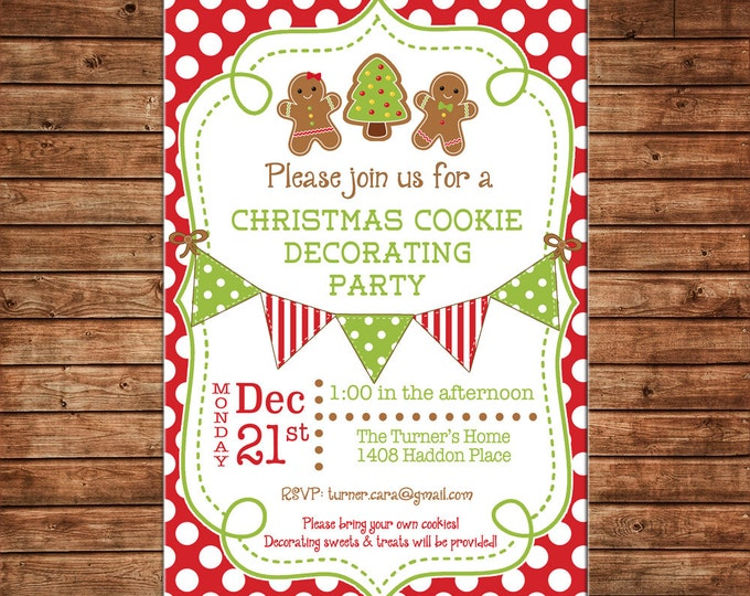 Christmas Invitation Gingerbread House Cookie Decorating Party - Can personalize colors /wording - Printable File or Printed Cards