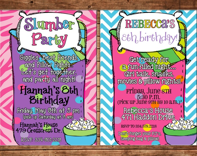 Girl Invitation Sleeping Bag Slumber Sleepover Birthday Party - Can personalize colors /wording - Printable File or Printed Cards