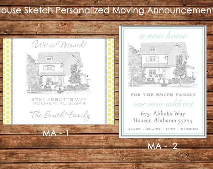 Personalized Printed Digital Pencil Sketch Moving We've Moved New Address Announcement Cards with envelopes - Design your own