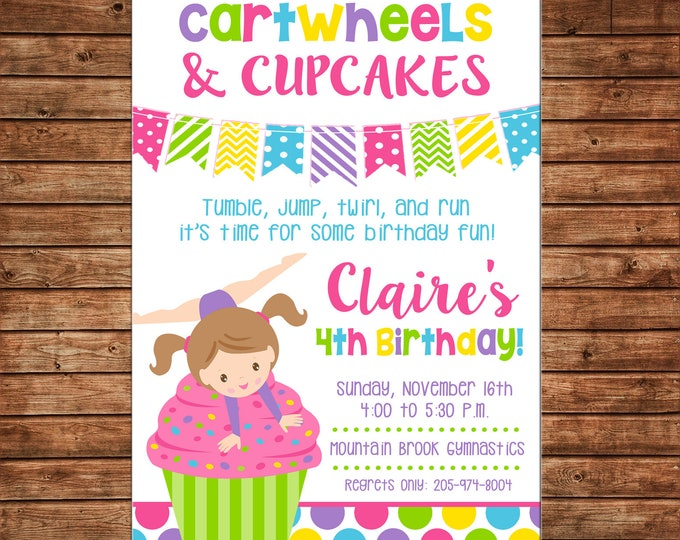 Girl Invitation Gymnastics Cartwheels and Cupcakes Birthday Party - Can personalize colors /wording - Printable File or Printed Cards