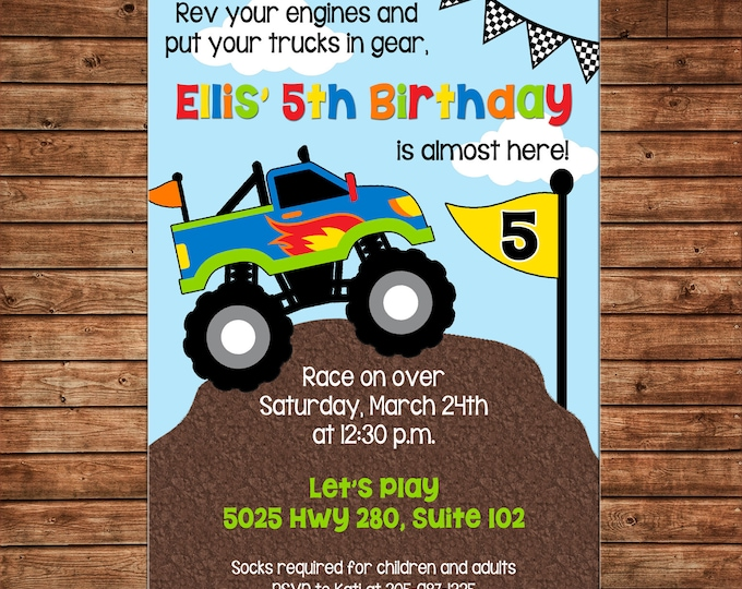 Boy Invitation Monster Truck Dirt Mound Birthday Party - Can personalize colors /wording - Printable File or Printed Cards