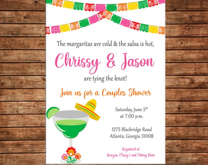 Invitation Mexican Fiesta Shower Couples Wedding Party - Can personalize colors /wording - Printable File or Printed Cards