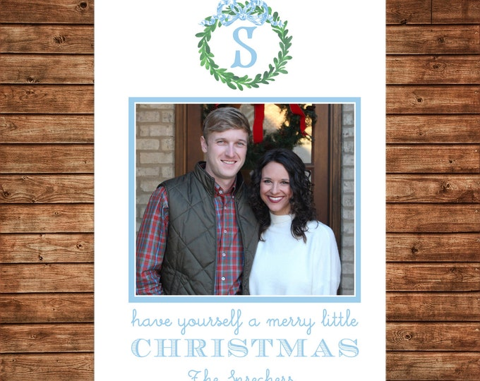 Christmas Holiday Photo Card Blue Watercolor Wreath Monogram - Can Personalize - Printable File
