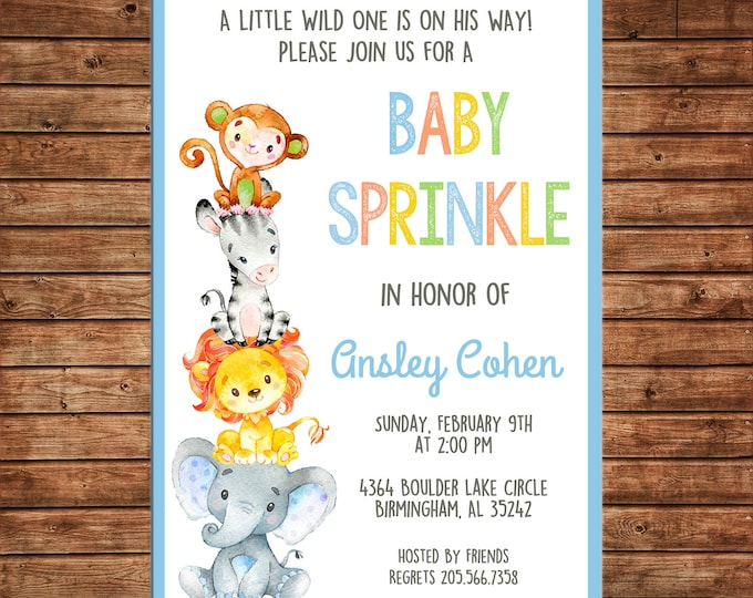 Boy Invitation Wild One Safari Animals Shower Birthday Party - Can personalize colors /wording - Printable File or Printed Cards