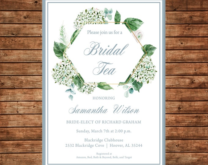 Invitation Watercolor Floral Hydrangea Greenery Brunch Shower  - Can personalize colors /wording - Printable File or Printed Cards