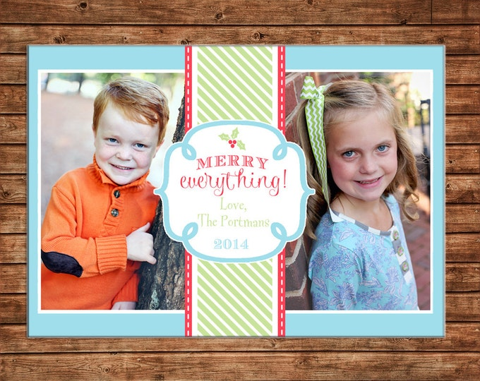 Christmas Holiday Photo Card Blue Green Red - Can Personalize - Printable File or Printed Cards