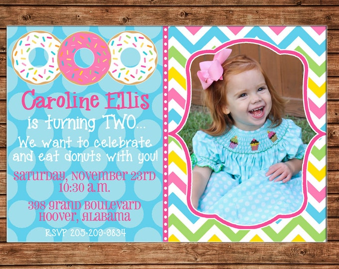 Girl Photo Invitation Donuts Bright Chevron Birthday Party - Can personalize colors /wording - Printable File or Printed Cards