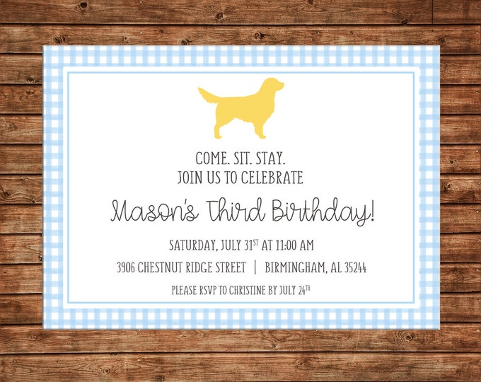 Boy or Girl Invitation Gingham Check Dog Puppy Birthday Party - Can personalize colors /wording - Printable File or Printed Cards