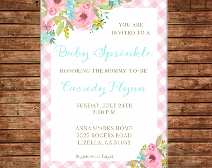 Invitation Pink Gingham Check Watercolor Floral Shower Party - Can personalize colors /wording - Printable File or Printed Cards