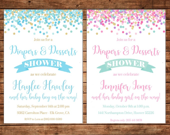 Boy or Girl Baby Girl Diapers and Dessert Shower Invitation - Can personalize colors /wording - Printable File or Printed Cards