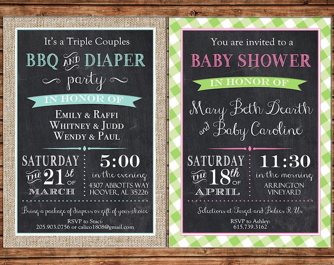 Invitation Chalkboard Gingham Baby Shower Bridal Wedding Birthday Party - Can personalize colors /wording - Printable File or Printed Cards
