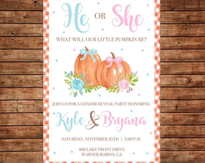 Little Pumpkin Gender Reveal Invitation Watercolor Baby Shower - Can personalize colors /wording - Printable File or Printed Cards