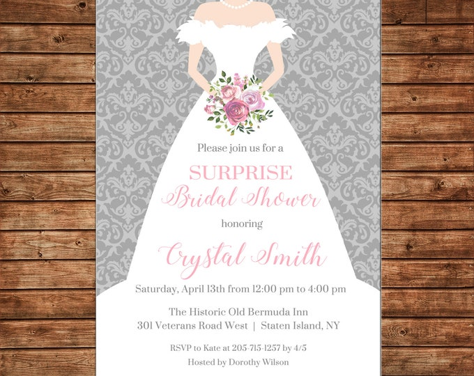 Invitation Bride Bridal Wedding Dress Shower Party - Can personalize colors /wording - Printable File or Printed Cards