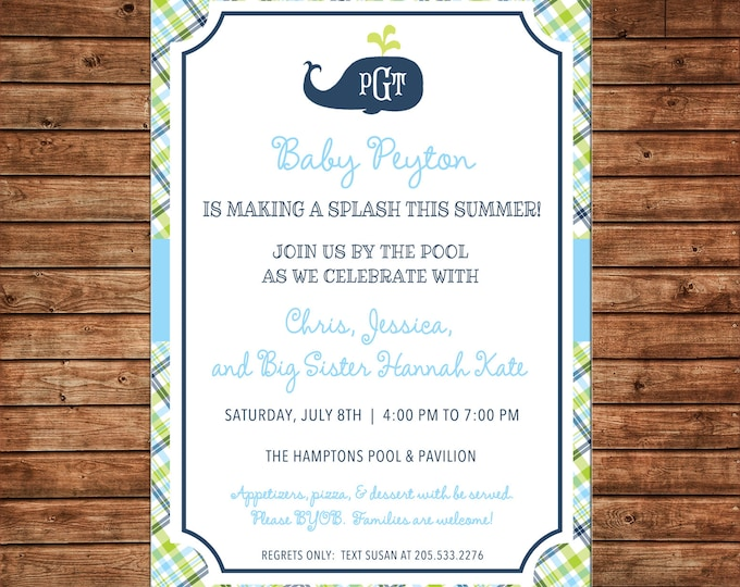 Boy Invitation Monogram Preppy Whale Plaid Baby Shower Birthday Party - Can personalize colors /wording - Printable File or Printed Cards